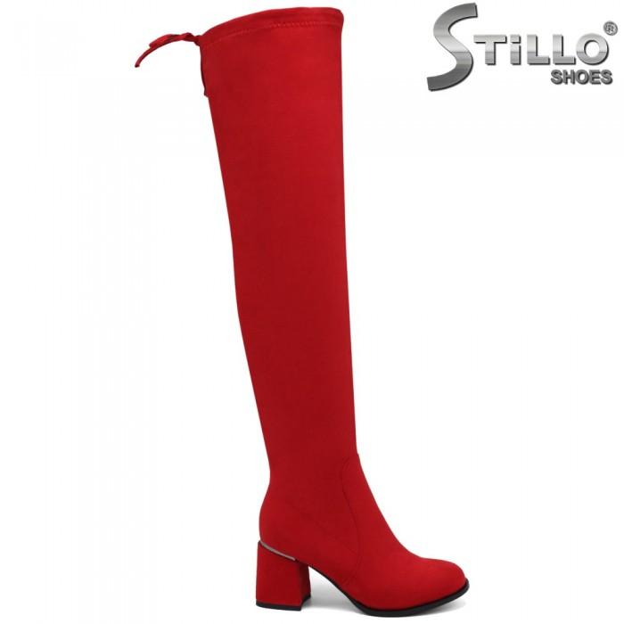 Червени чизми от стреч велур с връзки отзад - 34001