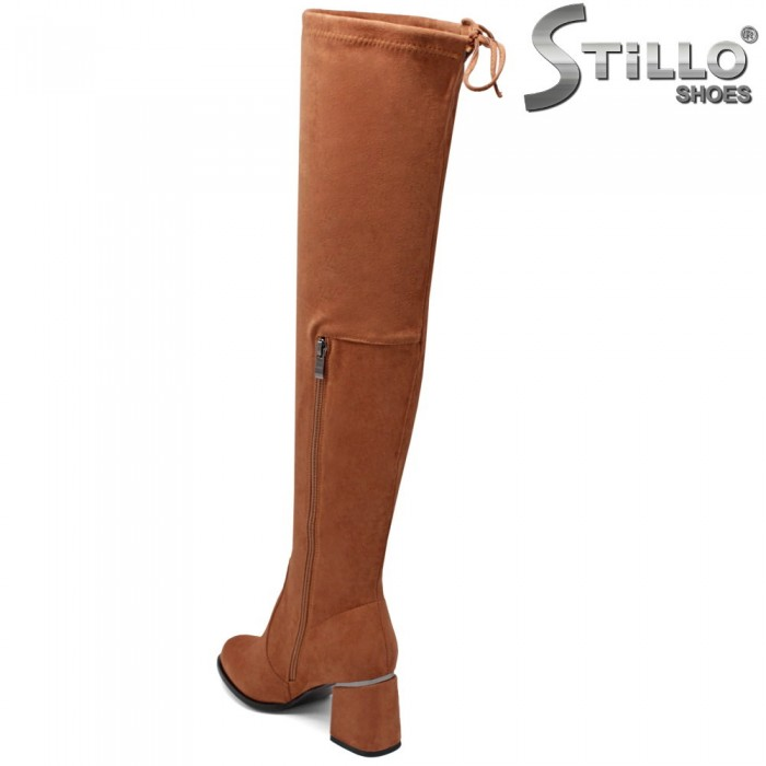 Дамски чизми на среден ток цвят камел - 34002