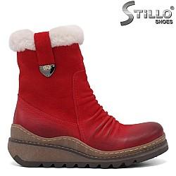 Червени боти от естествена кожа с пух - 34097