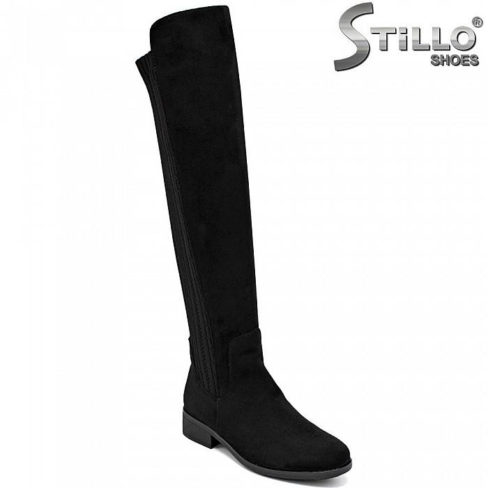 Дамски чизми от еко велур и текстил - 34132