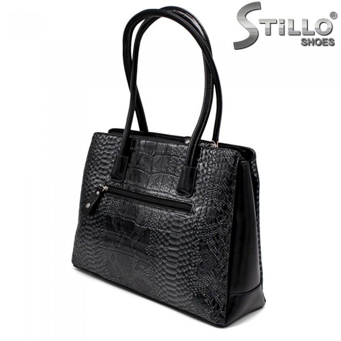 Стилна дамска чанта в сиво и черно - 34144