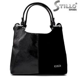 Чанта от естествен велур и еко лак - 34156