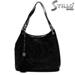 Чанта тип торба от естествен велур с камъчета - 34158