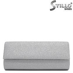 Официална бална чанта в сребърен брокат - 34181