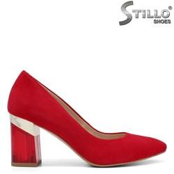 Червени обувки от естествен велур на висок широк ток - 34190