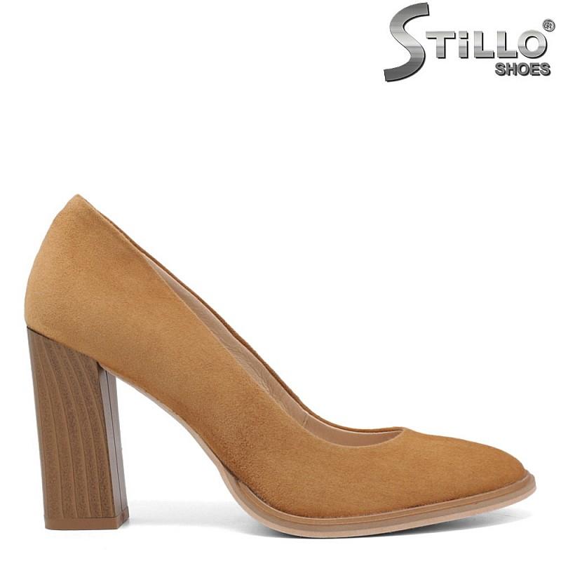 Обувки камел на висок ток - 34191