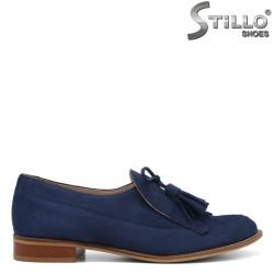 Сини ежедневни обувки на ниско токче - 34193