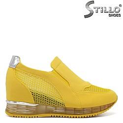 Жълти спортни обувки на платформа - 34264