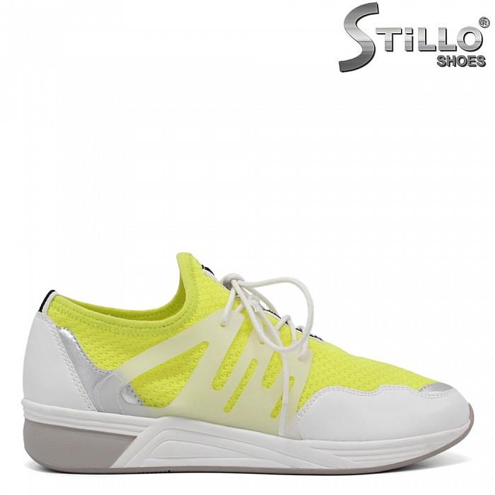 Маратонки MARCO TOZZI в бяло и жълт неон с връзки - 34277