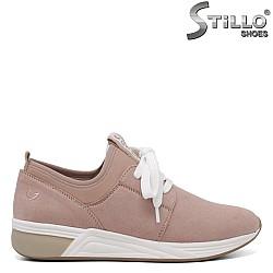 Розови спортно-елегантни обувки Marco Tozzi с връзки - 34278