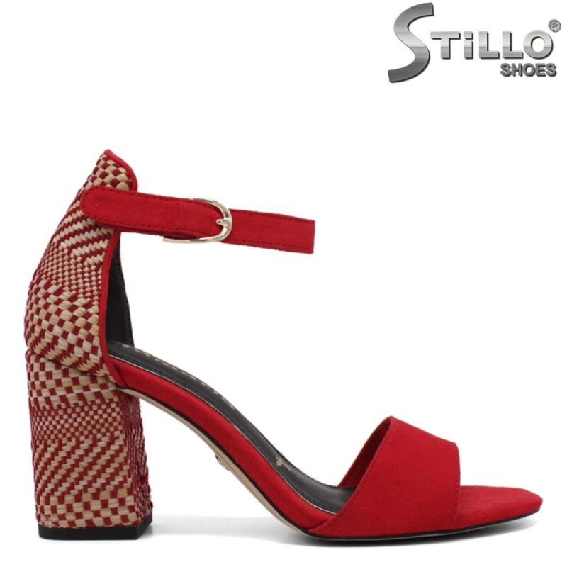 Червени сандали на висок ефектен ток - 34279