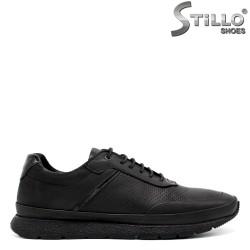 Мъжки спортни обувки от естествена черна кожа - 34301