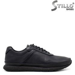 Сини спортни обувки от естествена кожа - 34306