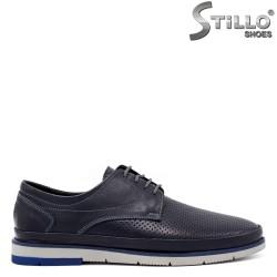 Мъжки сини обувки с имитация на перфорация - 34310