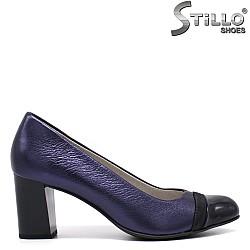 Сини дамски обувки на среден ток - 34320
