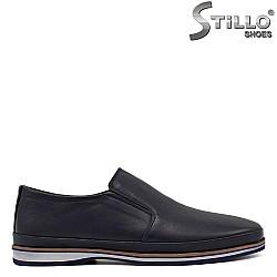 Мъжки сини обувки с кафяв кант - 34366