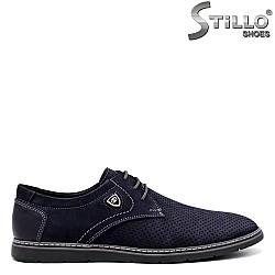 Сини мъжки обувки от набук - 34367