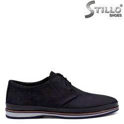 Обувки от син набук с кафяв кант - 34368