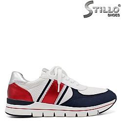Marco Tozzi маратонки в бяло , синьо и червено - 34371