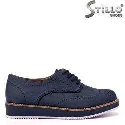 Сини равни велурени обувки с връзки - 34392