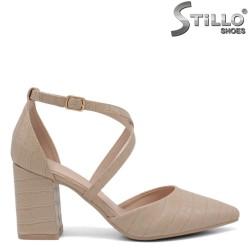 Бежови отворени обувки на ток - 34403