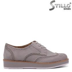Велурени сиви обувки с връзки - 34406