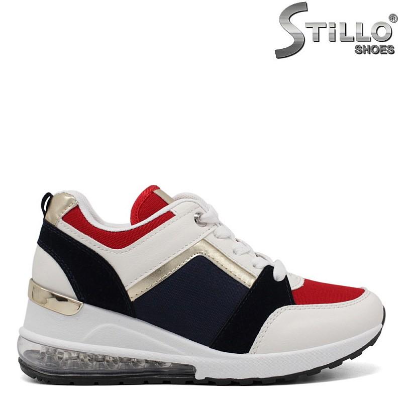 Маратонки на платформа в бяло, синьо и червено - 34499