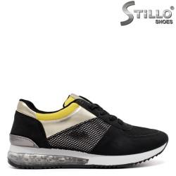 Дамски маратонки в жълто, златно и черно - 34503