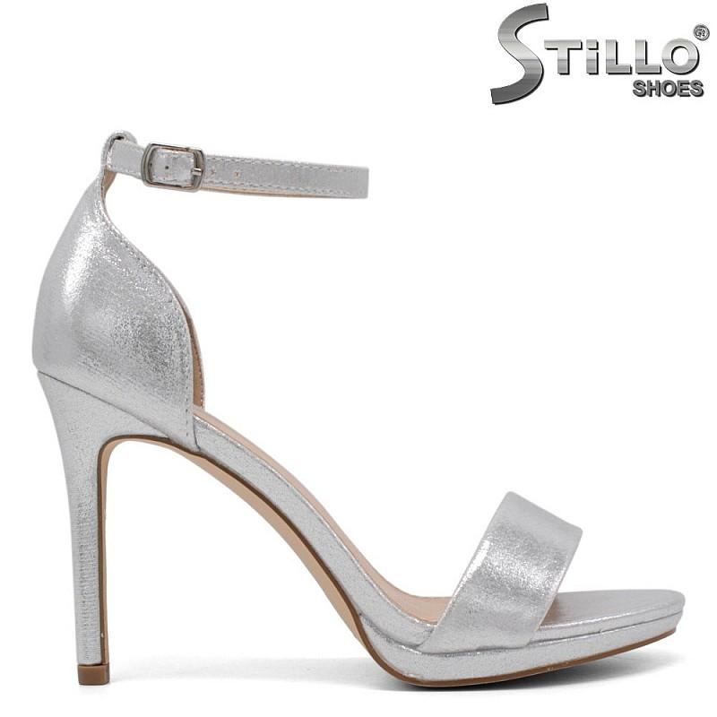 Абитуриентски сандали на високо тънко токче и ниска платформа - 34509