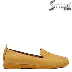 Жълти мокасини естествена кожа - 34514