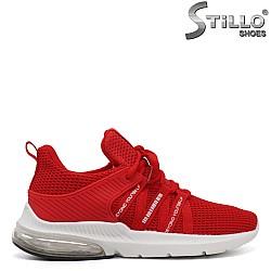 Червени спортни текстилни маратонки с камера на ходилото - 34520
