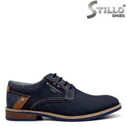 Мъжки сини обувки от набук - 34579