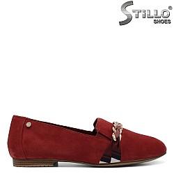 Червени мокасини Tamaris от естествен велур - 34583