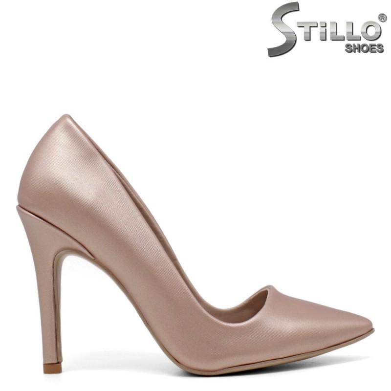 Обувки на висок ток в медно-розово -34610