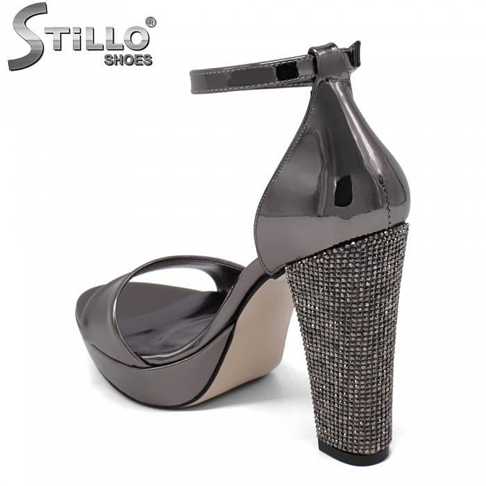 Официални сандали на висок ток с камъчета - 34616