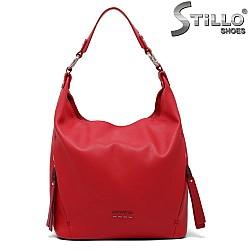 Червена дамска чанта със странични ципове - 34639