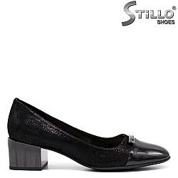 Велурени обувки на среден ток - 34644
