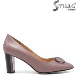 Обувки в цвят пепел от рози от естествена кожа - 34660