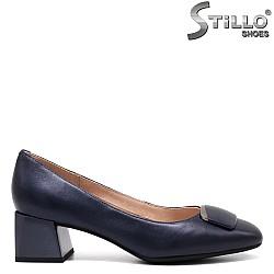 Сини дамски обувки на среден ток - 34668