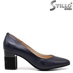 Тъмносини дамски обувки на ток - 34679
