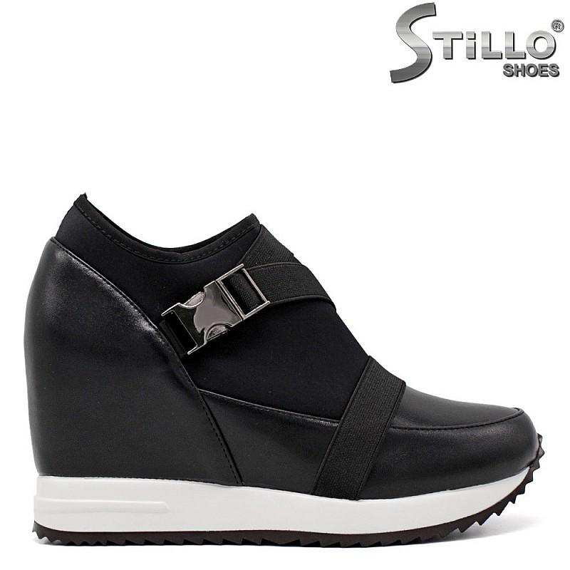 Обувки на платформа в кожа и стреч - 34684
