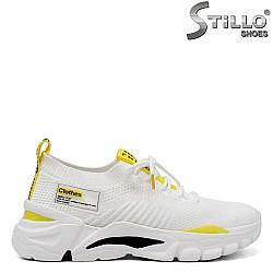 Дамски маратонки в бяло и жълто - 34712