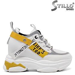 Бели сникърси с жълти акценти - 34735