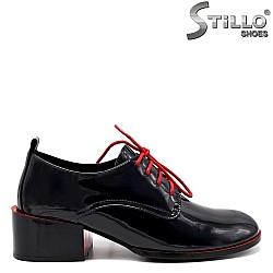 Тъмносини обувки с червени връзки - 34737