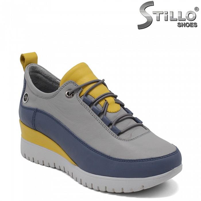 Кожени спортни обувки на платформа - 34758