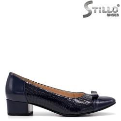 Сини дамски обувки на нисък ток - 34795