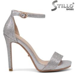Сребърни сандали с камъни на висок ток - 34818