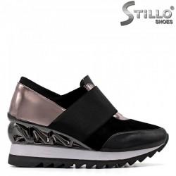 Фешън обувки на платформа в кожа и велур - 34822