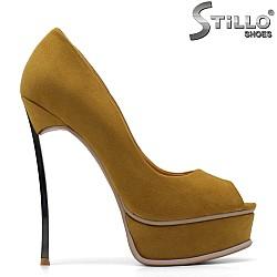 Обувки в цвят горчица на ток и платформа - 34826