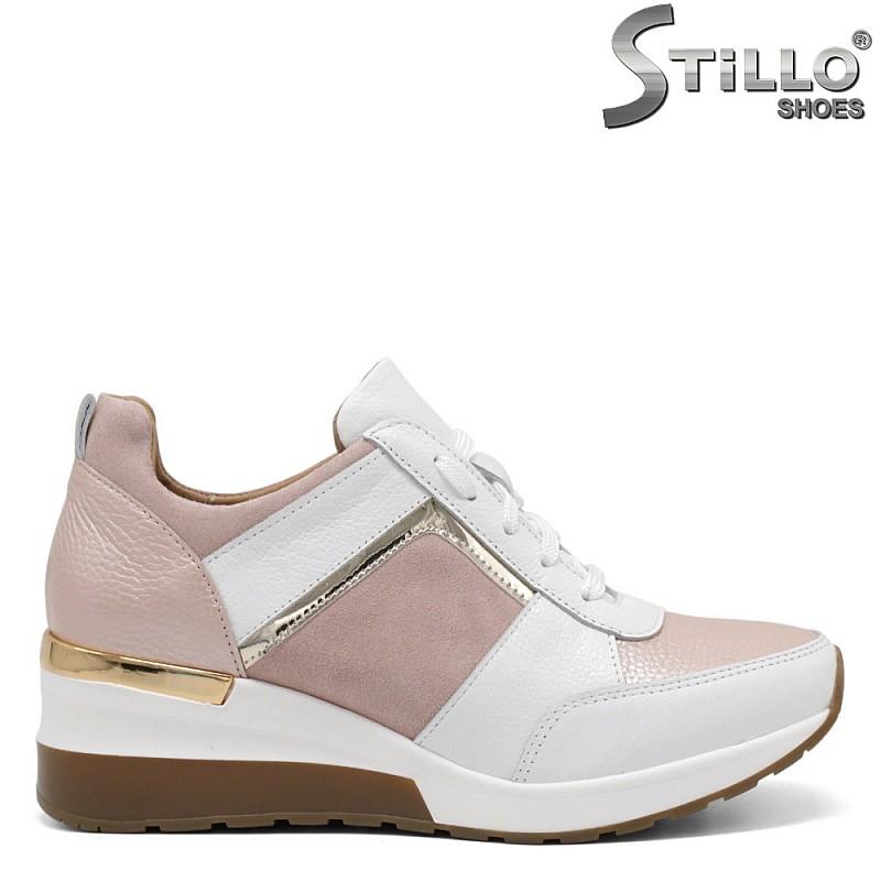 Сникърси в бяло и розово на платформа - 34833